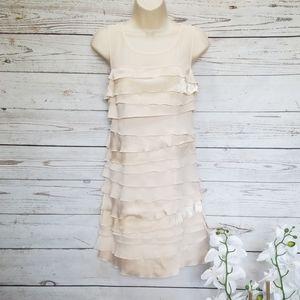 LOFT Ann Taylor Velvet Satin Chiffon Tiered Dress